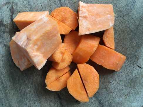 Chopped Carrots and Sweet Potato